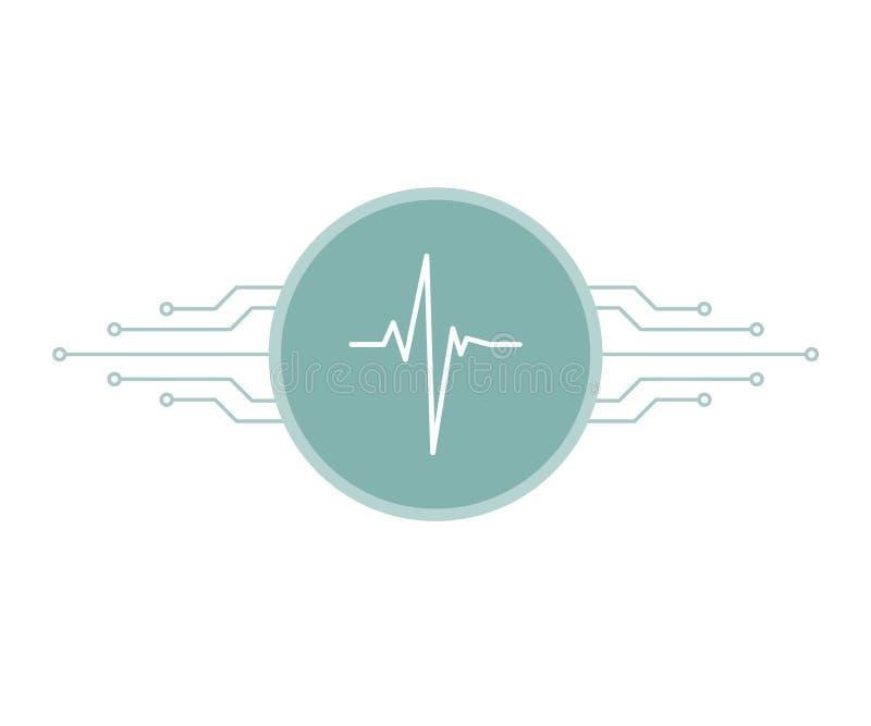 在蓝色圈子与电路板微集成电路线,聪明的远程医学标志,传染媒介的白色心跳脉冲 库存例证