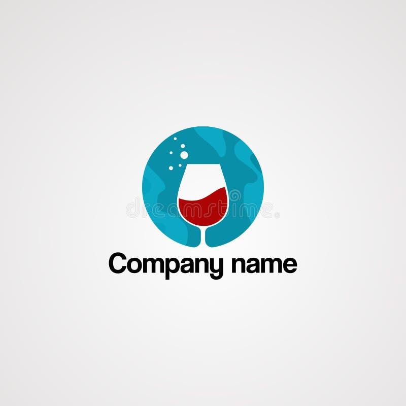 在蓝色圈子和下落水商标传染媒介、象、元素和模板的红色饮料公司的 向量例证