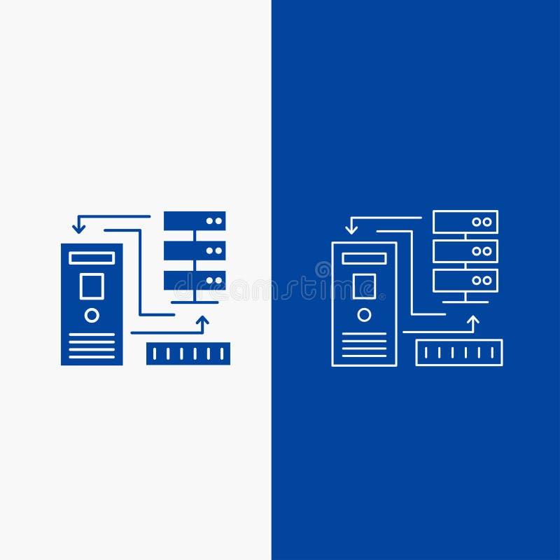 在蓝色垂直的横幅的组合、数据,数据库,电子,信息线和纵的沟纹网按钮UI和UX的, 库存例证