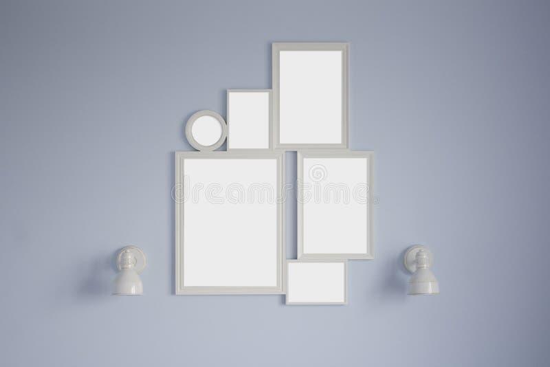 在蓝色墙壁上的白色拼贴画框架大模型有白色灯的 免版税库存图片