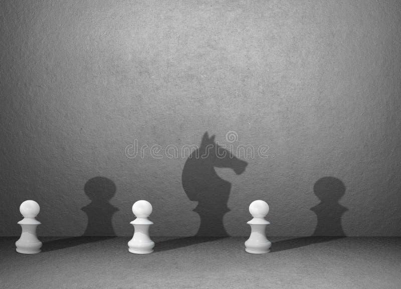 在蓝色墙壁,经营战略计划上的棋阴影 库存例证