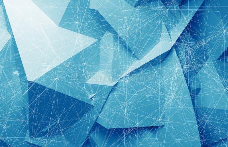 在蓝色多角形背景, 3d的导线框架滤网 皇族释放例证