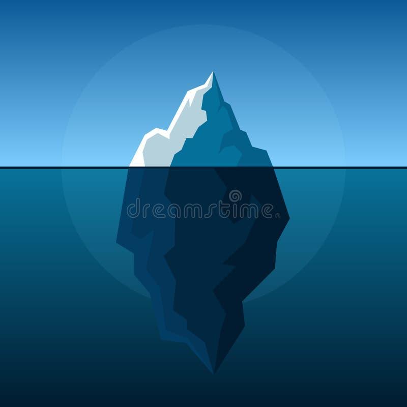 在蓝色大西洋背景传染媒介的白色冰山 库存例证