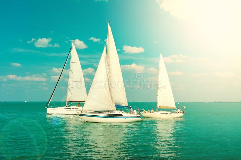 在蓝色巴拉顿湖匈牙利的帆船有阳光的 库存照片