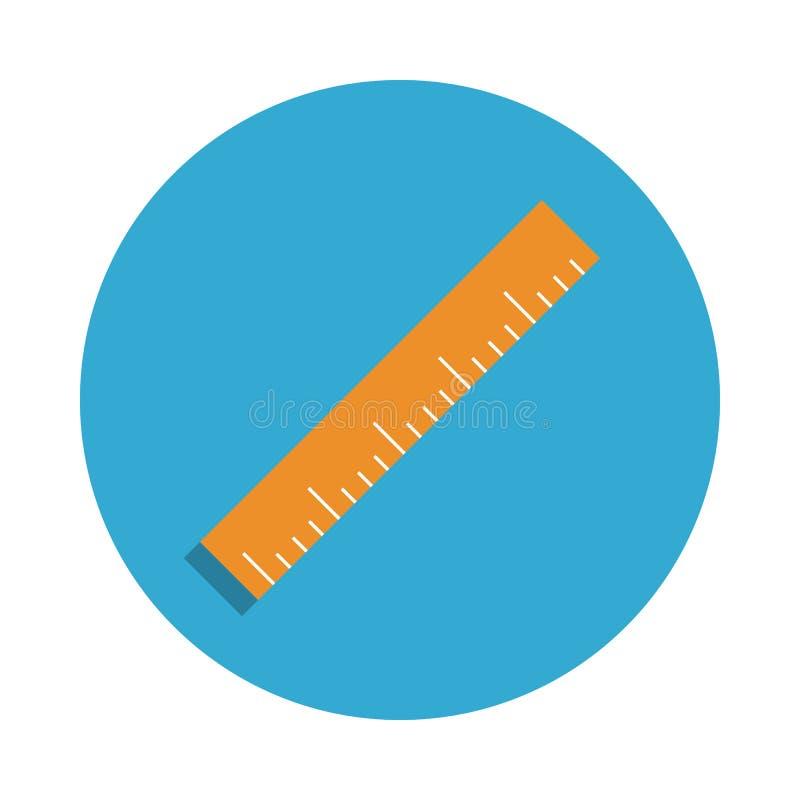 在蓝色徽章象上色的统治者 学校象的元素流动概念和网apps的 详细的统治者象可以为网使用 库存例证