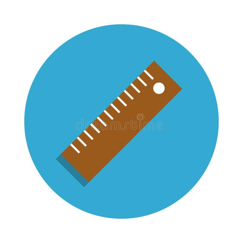 在蓝色徽章象上色的统治者 学校象的元素流动概念和网apps的 详细的统治者象可以为网使用 向量例证