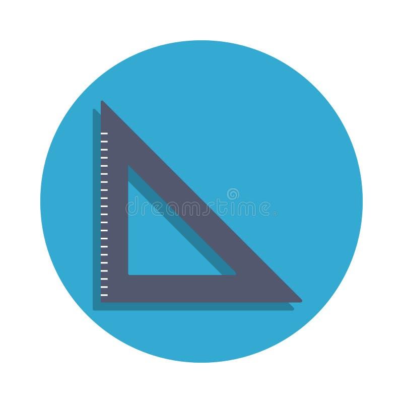 在蓝色徽章象上色的角度统治者 学校象的元素流动概念和网apps的 详细的角度统治者象可以是u 向量例证