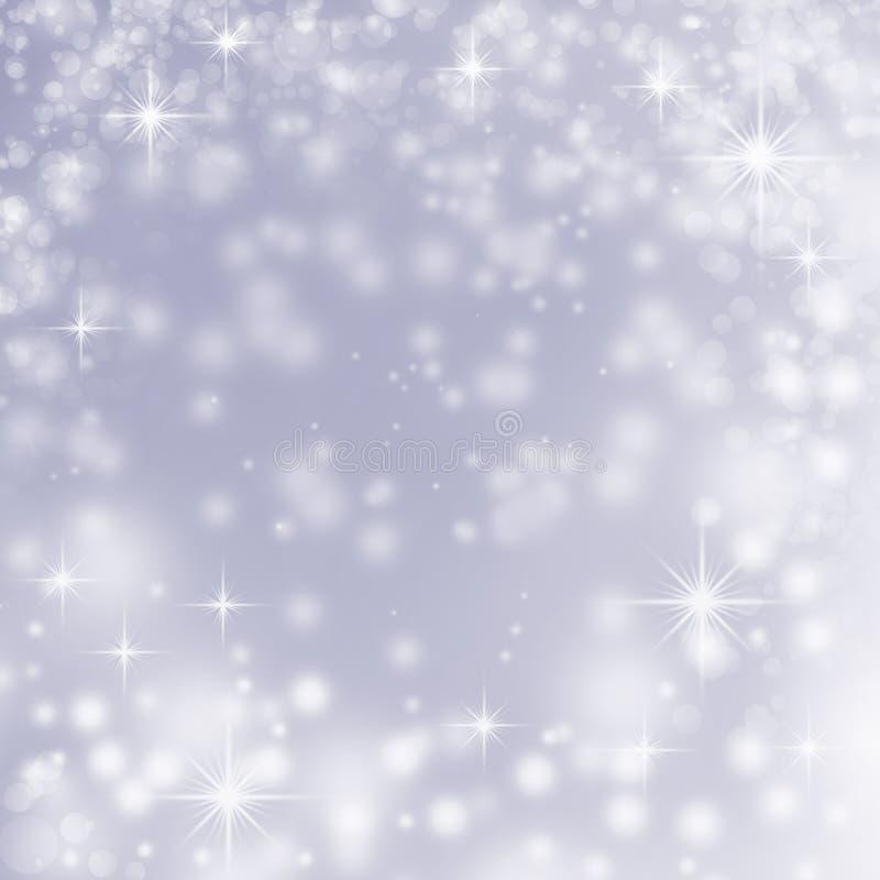 在蓝色抽象背景的白色圣诞节光 库存例证