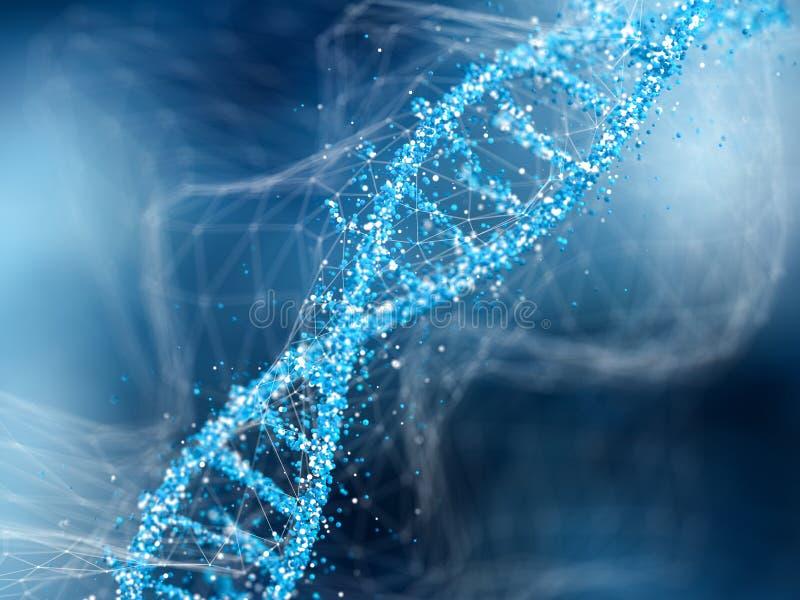 在蓝色抽象背景的脱氧核糖核酸分子 生化的概念 向量例证