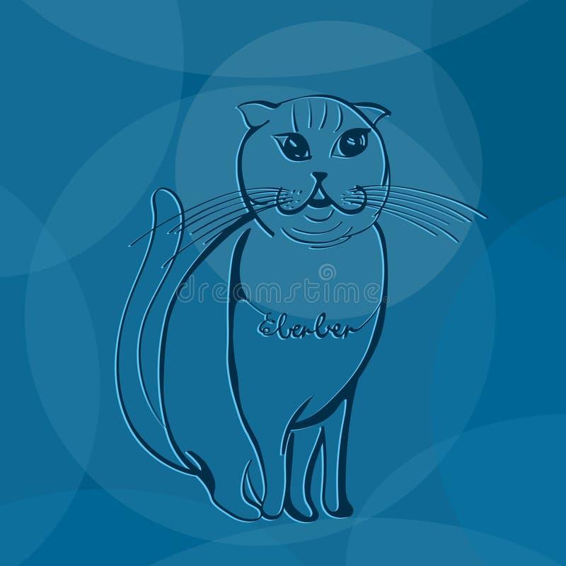 在蓝色摘要的概述猫 库存照片