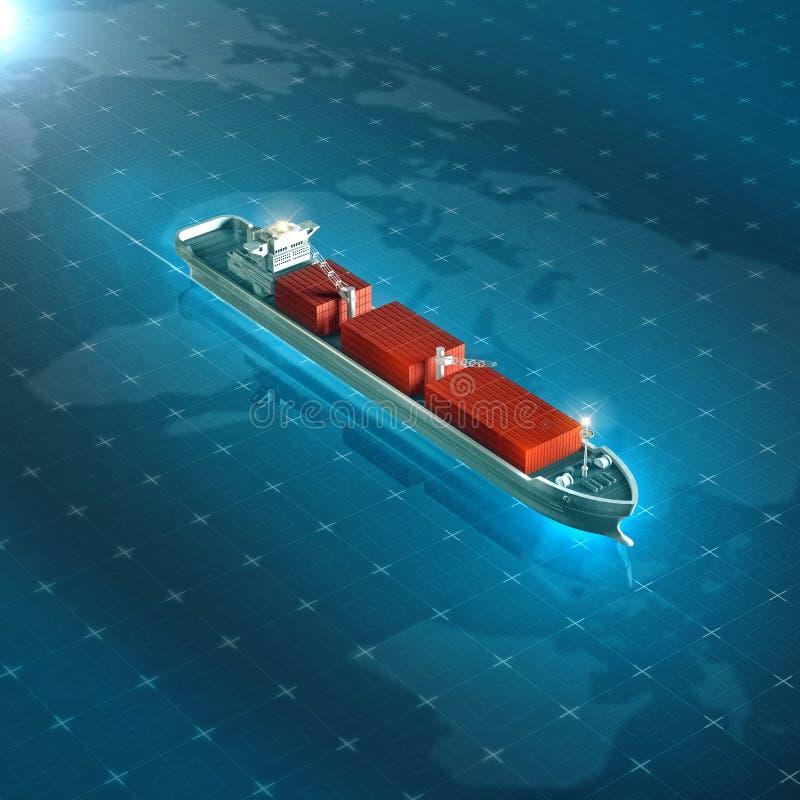 在蓝色数字式高科技未来派背景的货箱船 质量3d回报全球性物品跟踪的隐喻 图库摄影