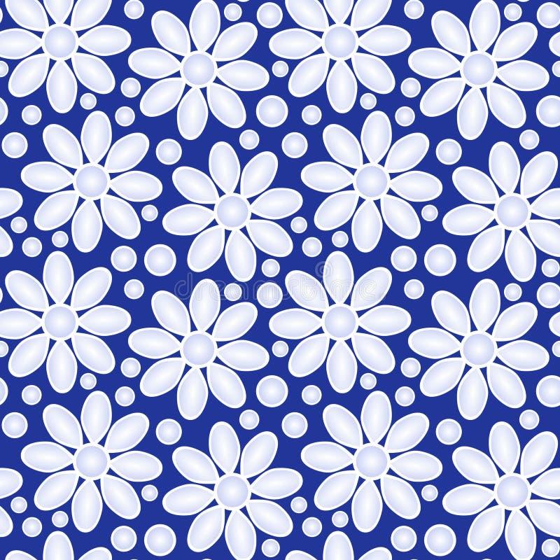 在蓝色无缝的背景的花 向量例证