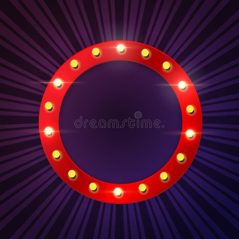 在蓝色条纹背景的圆的红色电灯泡框架 边界月桂树离开橡木丝带模板向量 向量例证