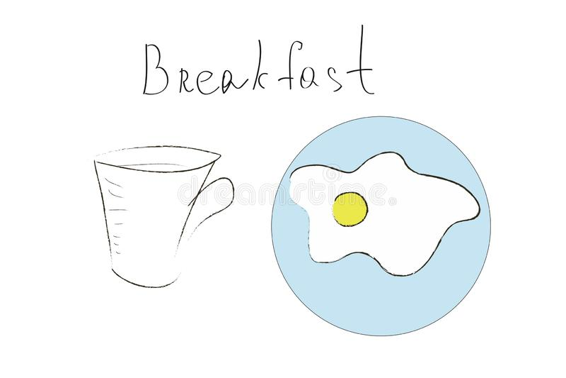 在蓝色板材和一杯咖啡的荷包蛋在白色背景、早餐和早晨好概念的 库存例证