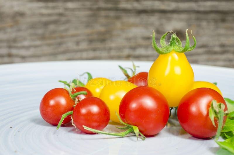 在蓝色板材的西红柿 免版税图库摄影