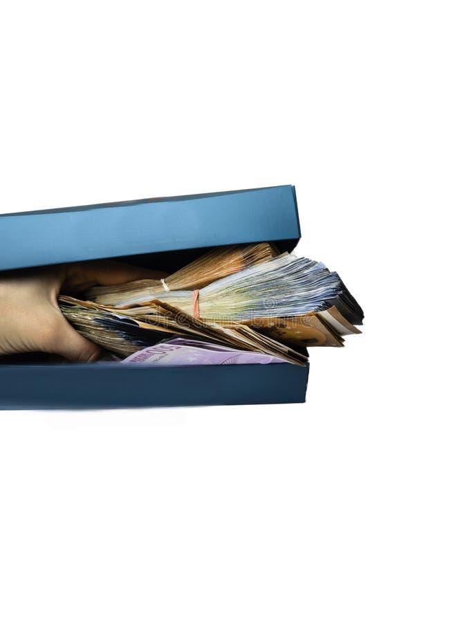 在蓝色框的不同的欧元现金金钱钞票 免版税图库摄影