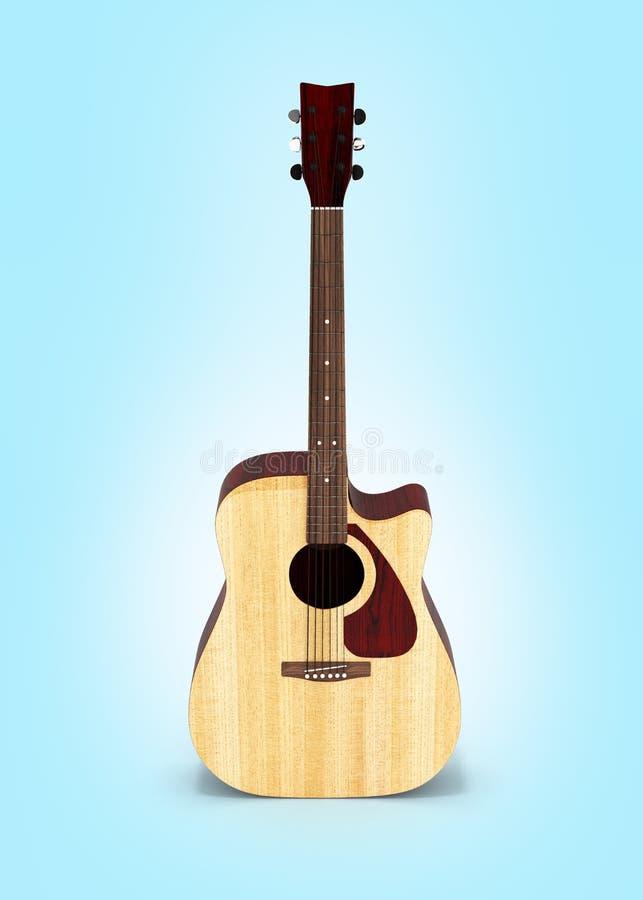 在蓝色梯度背景3d的声学吉他正面图 皇族释放例证