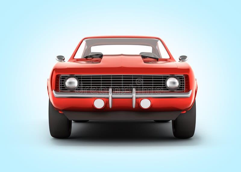 在蓝色梯度背景3d的肌肉汽车正面图 皇族释放例证