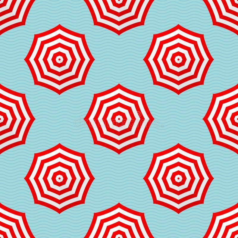 在蓝色波浪的Seamles样式红色和白色遮阳伞 库存例证