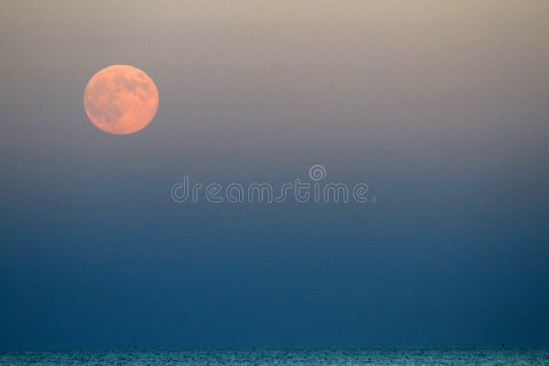 在蓝色海上上升的红色月亮 免版税库存图片