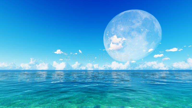 在蓝色海和天空的满月 库存图片