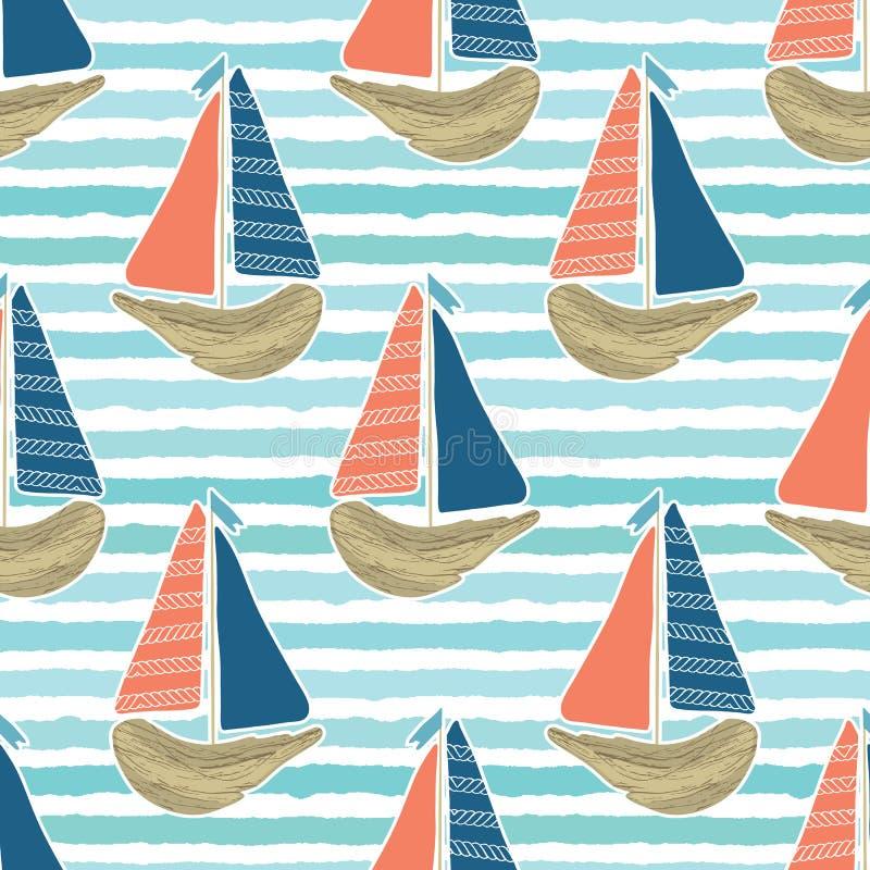 在蓝色海洋海样式的逗人喜爱的漂流木头风船 海水镶边无缝的传染媒介背景 帆船为 库存例证