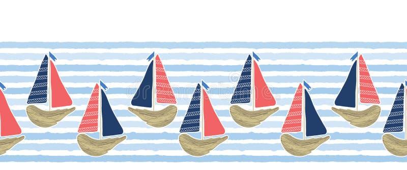 在蓝色海洋海边界样式的逗人喜爱的漂流木头风船 海水镶边无缝的传染媒介背景 ?? 皇族释放例证