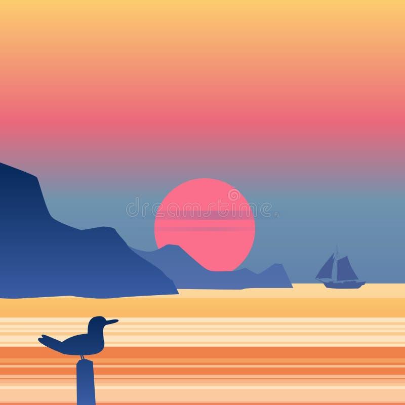 在蓝色海海洋天际的日落风船,海鸥,传染媒介背景,岩石,航行,例证,传染媒介, isolared 皇族释放例证