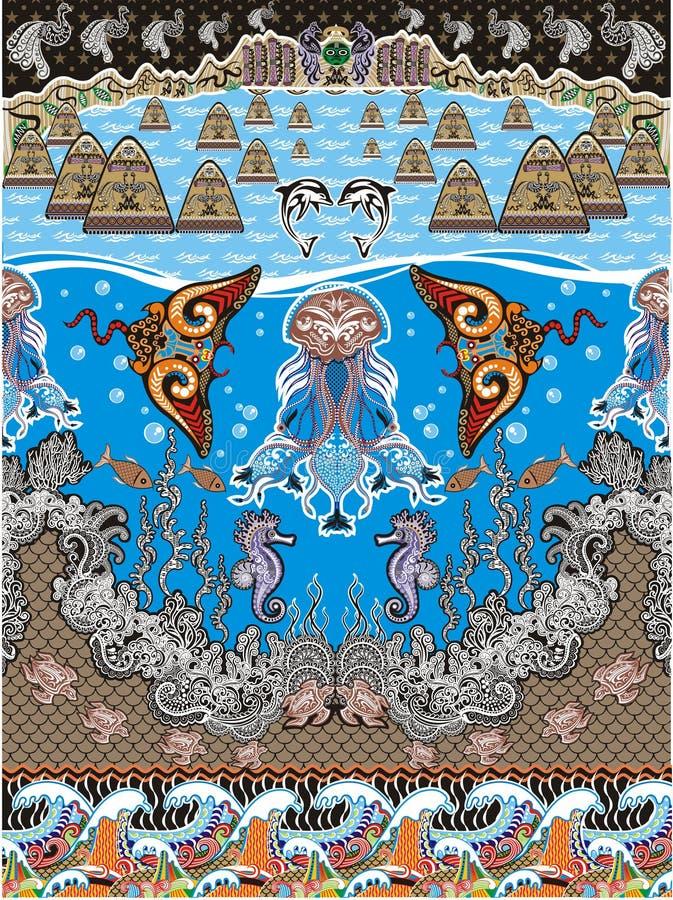 在蓝色海装饰的海洋生活 图库摄影
