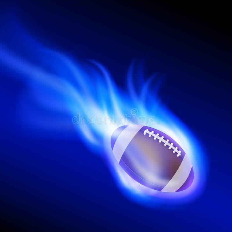 在蓝色火的灼烧的橄榄球 向量例证