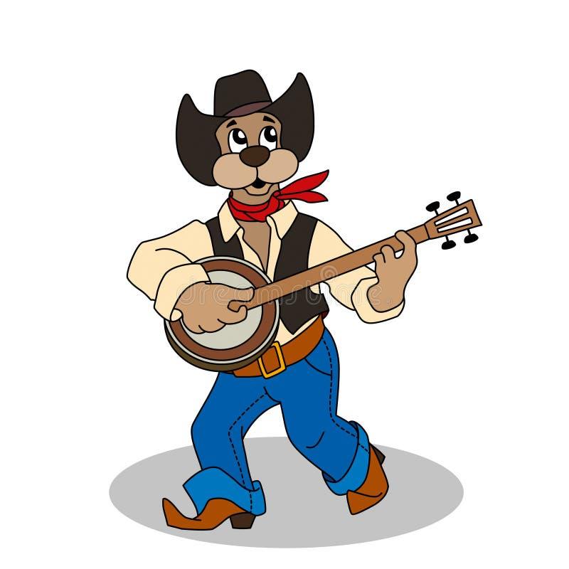 在蓝色牛仔裤和帽子的滑稽的狗弹班卓琵琶 向量例证