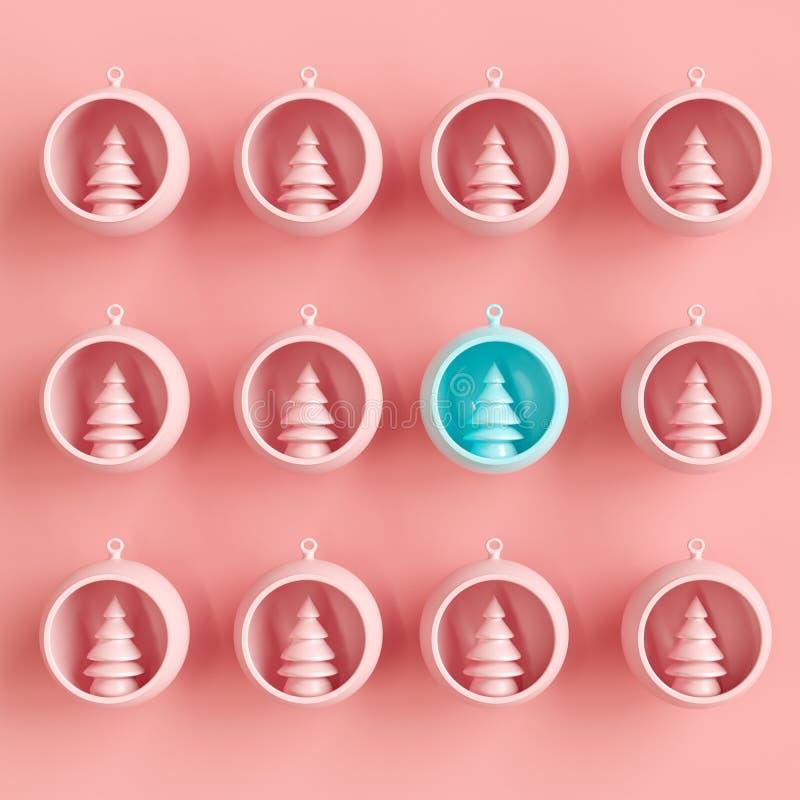 在蓝色玻璃的卓著的蓝色圣诞树装饰品在桃红色玻璃的桃红色圣诞树装饰品中在粉红彩笔backgro 皇族释放例证