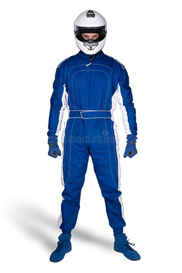 在蓝色白色motorsport整体鞋子手套的被确定的赛车手和缺一不可的安全安全帽隔绝了白色背景 库存图片