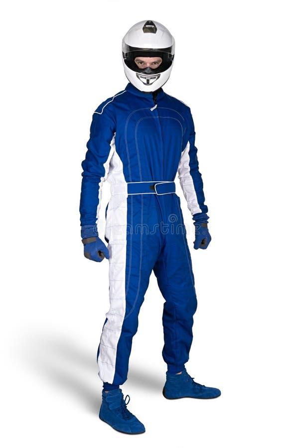 在蓝色白色motorsport整体鞋子手套的被确定的赛车手和缺一不可的安全安全帽隔绝了白色背景 免版税库存图片
