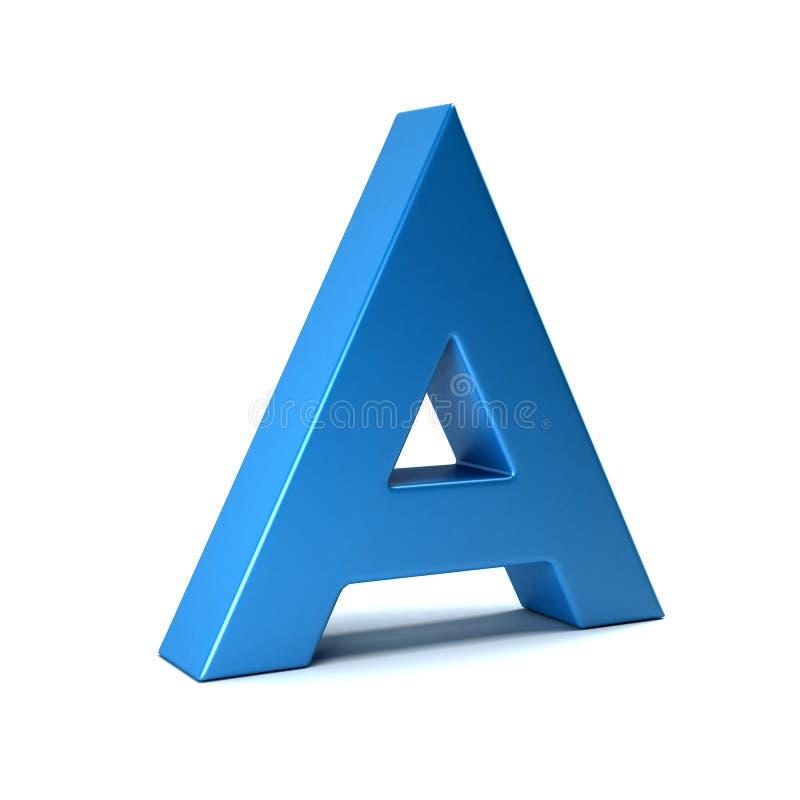 在蓝色的一封信件 3d回报 库存例证