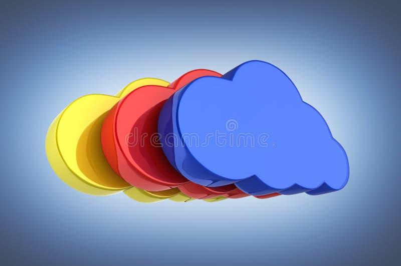 在蓝色的云彩标志例证五颜六色的云彩在深蓝梯度背景3d 皇族释放例证