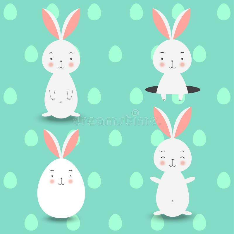 在蓝色的四只兔子怂恿背景,传染媒介例证 库存例证