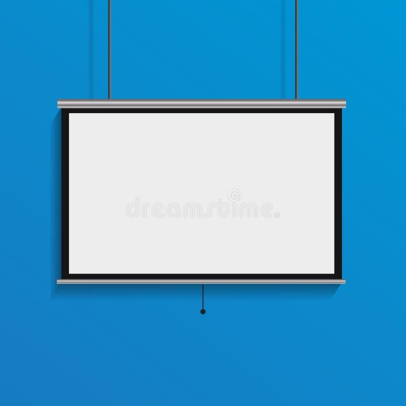 在蓝色的垂悬的空白的放映机屏幕空的会议显示 皇族释放例证