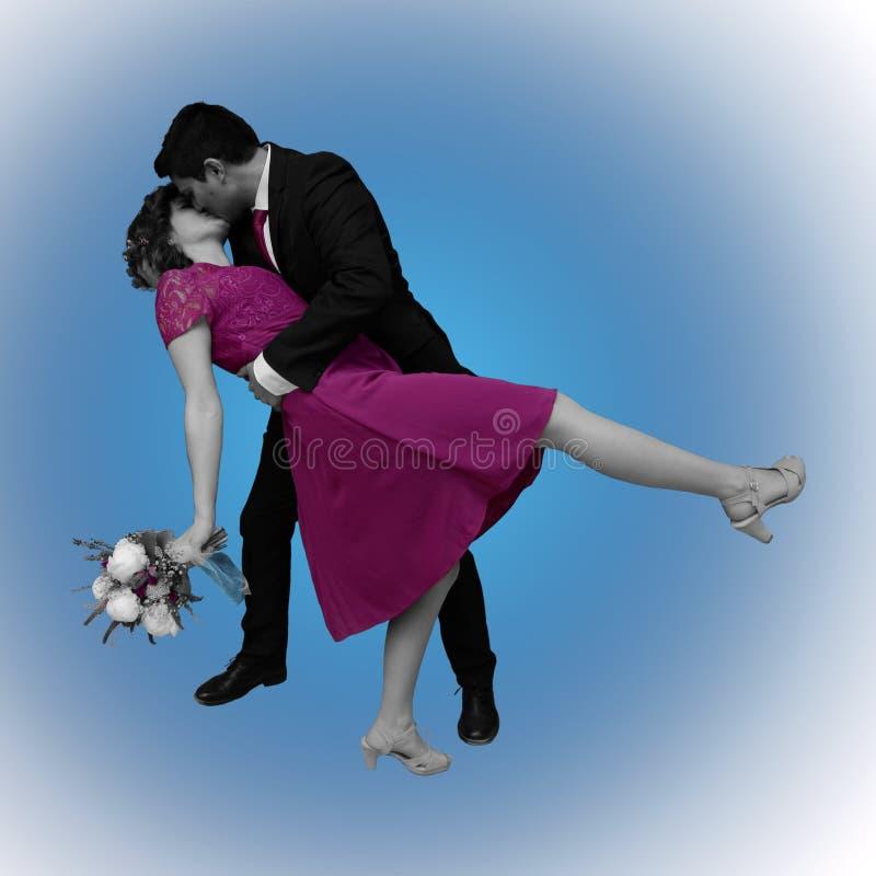 在蓝色的婚姻的亲吻 向量例证