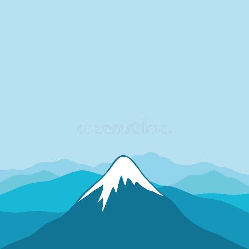 在蓝色的山上面 向量例证
