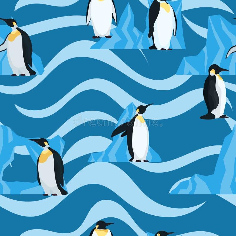 在蓝色的平的企鹅与波浪无缝的样式 库存例证
