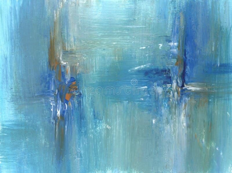 在蓝色的抽象丙烯酸酯的绘画,蓝绿色颜色 库存例证