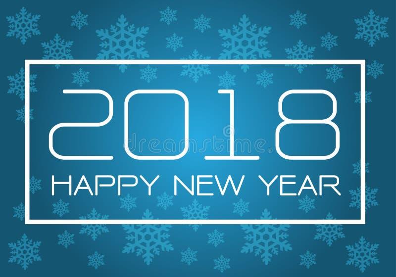 在蓝色的新年快乐2018白色与雪花假日节日读秒庆祝背景传染媒介的样式设计 向量例证
