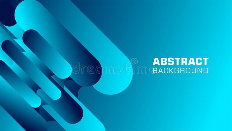 在蓝色的曲拱长方形形状抽象背景 库存例证