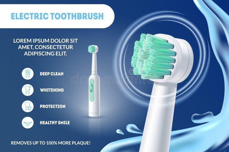 在蓝色的现实详细的3d电牙刷广告 向量 向量例证