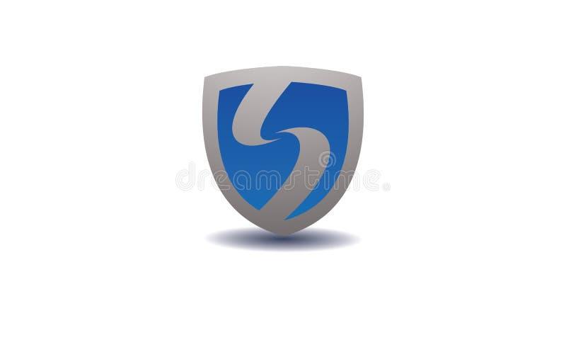 在蓝色的盾商标与在中心的字母S 皇族释放例证