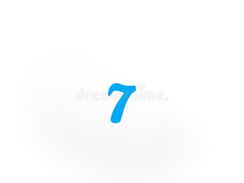 在蓝色的第七在白色背景 库存例证