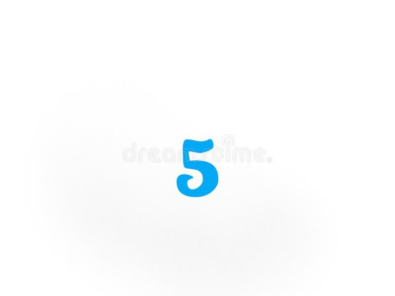 在蓝色的第五在白色背景 库存例证