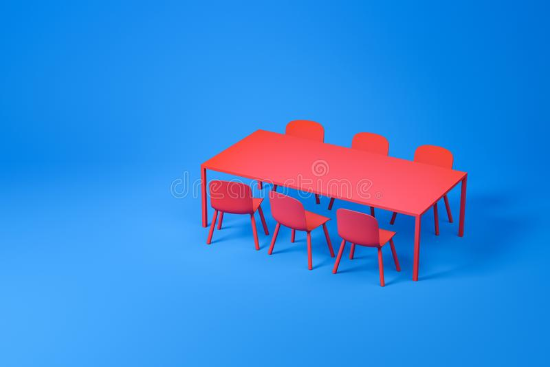 在蓝色的红色餐厅家具集合 库存例证