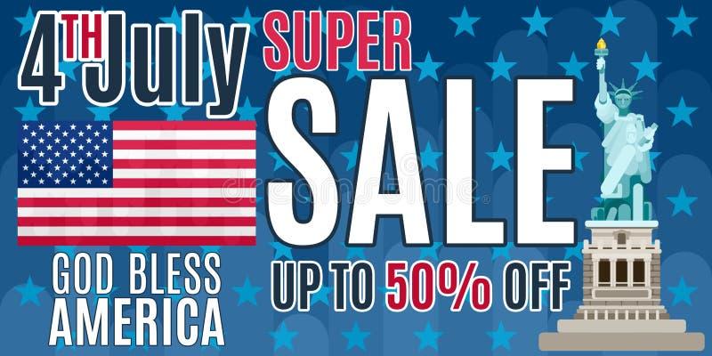 在蓝色的美国独立日大海报销售 向量例证